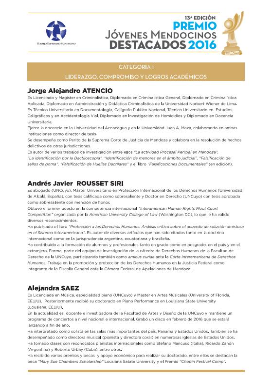 Jóvenes Mendocinos Destacados 2016 - Ternados Categoría 1