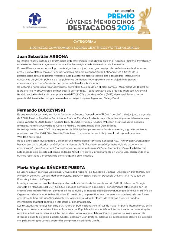 Jóvenes Mendocinos Destacados 2016 - Ternados Categoría 2