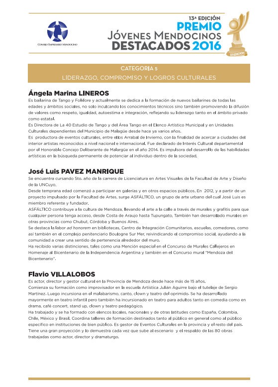 Jóvenes Mendocinos Destacados 2016 - Ternados Categoría 5