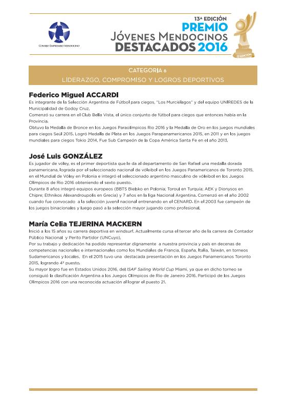 Jóvenes Mendocinos Destacados 2016 - Ternados Categoría 6