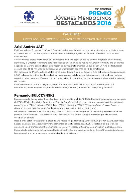 Jóvenes Mendocinos Destacados 2016 - Ternados Categoría 7